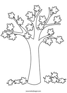 disegno-albero-autunno Autumn Crafts, Autumn Art, Autumn Trees, Autumn Leaves, Toddler Crafts, Preschool Crafts, Diy Crafts For Kids, Art For Kids, Free Kids Coloring Pages