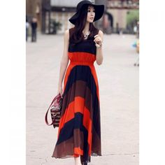 Western Style Color Block Broad Stripe Print Elastic Waist Chiffon Maxi Dress For Women