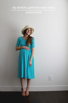 Here is a very comfy take on a classic dress! Made from knit and an elastic waist it is perfect fit for a pregnant women and her growing belly. Its pretty and flattering and ready to wear casually …