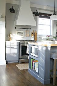 Thrifty Decor Chick's gray and white DIY kitchen renovation featuring an extended island, additional lighting, extended cabinets and a two tone look. Two Tone Kitchen Cabinets, Kitchen Vent, Kitchen Hoods, Built In Cabinets, New Kitchen, Kitchen Dining, Kitchen Ideas, Kitchen Inspiration, Design Kitchen