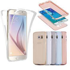 Per iphone per samsung galaxy (anteriore + copertura posteriore del gel di serie), antiurto tpu 360 gradi protettiva trasparente di cristallo molle case cover