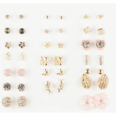 Full Tilt 20 Pairs Floral/Rhinestone Earrings ($7.97) ❤ liked on Polyvore featuring jewelry, earrings, charm earrings, full tilt earrings, charm jewelry, rhinestone jewelry and rhinestone earrings