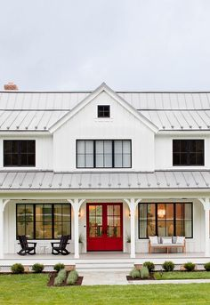 Modern Farmhouse Red Front Door Paint Color is Exotic by Benjamin Moore