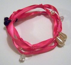 Hot Pink Handmade Ribbon & Glass Bead by TXGulfCoastCreations, $19.99   #TXGulfCoastCreations #facebook.com/TXgulfcoastcreations #jewelry #Designer #Creator, etsy.com/shop/TXGulfCoastCreations #Unique #Handcrafted items #New and #Vintage Materials @TXGulfCoastShop #bonanza.com/booths/TXGulfCoastCreations #Original #OOAK #Treasures for a LifeTime
