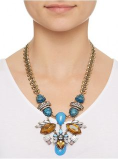 Flower And Bead Statement Necklace Multi-colour 270