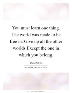 You must learn one thing. The world was made to be free in. Give up all the other worlds Except the one in which you belong Picture Quote #1