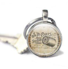 New to GlassCharmed on Etsy: Vintage sewing key ring Keyring for sewing photo keyring key chain Silver Key ring key fob vintage Illustration picture keyring sew (10.99 GBP)