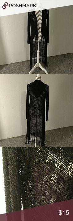 Long hooded cardigan. Black floor length hooded cardigan. Sweaters Cardigans