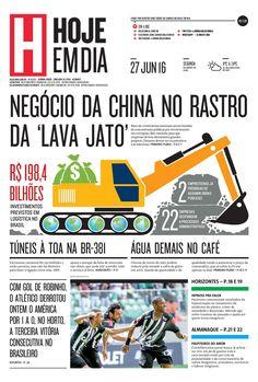 Capa do dia 27/06/2016 #HojeEmDia #Jornal #Notícias #News #Newspaper