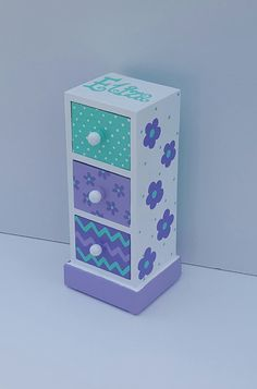 turquoise and purple personalized jewelry box, any design and color, flower girl gift, bridesmaid gift, first communion gift Cardboard Furniture, Cardboard Crafts, Paper Crafts, Home Crafts, Diy And Crafts, Hand Painted Dressers, Kids Jewelry Box, Barbie, Paper Flower Backdrop