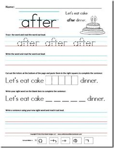 Looking for a Sight Words Worksheets For First Grade. We have Sight Words Worksheets For First Grade and the other about Benderos Printable Math it free. Sight Word Sentences, Sight Word Worksheets, Writing Sentences, Matching Worksheets, Sentence Writing, Hand Writing, Homeschool Worksheets, Kindergarten Worksheets, Grammar Worksheets
