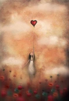 """""""I wondered if that was how forgiveness budded; not with the fanfare of epiphany, but with pain gathering its things, packing up, and slipping away unannounced in the middle of the night."""" —Khaled Hosseini, in The Kite Runner (Art: """"Love From Up Above"""" by Amanda Cass)"""