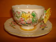 Antique Cup and Saucer Set with Butterfly Handle | eBay