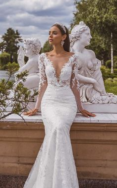 Lace Wedding Dress With Sleeves, Lace Mermaid Wedding Dress, Long Sleeve Wedding, Mermaid Dresses, Dream Wedding Dresses, Bridal Dresses, Wedding Gowns, Lace Dress, Wedding Cakes