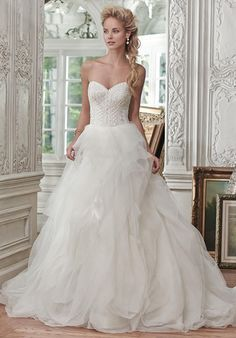 Lightweight tulle and Chic organza ball gown with sparkling beaded bodice and romantic sweetheart neckline   Maggie Sottero   https://www.theknot.com/fashion/ohara-maggie-sottero-wedding-dress