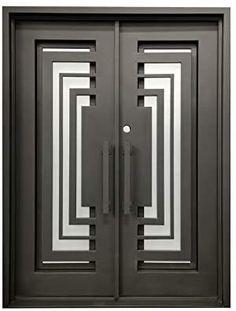 Double Front Entry Doors, Double Doors Exterior, Barn Door Locks, Steel Doors, Frosted Glass, Door Design, Bronze Finish, Steel Frame, Wrought Iron