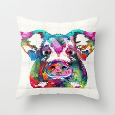 Colorful Pig Art - Squeal Appeal - By Sharon Cummings Throw Pillow by Sharon Cummings - $20.00