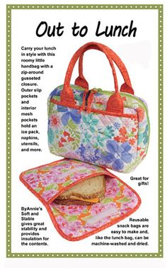 Carry your lunch in style in this roomy little handbag. A zip-around gusseted closure provides easy access to the contents of the bag. Two outer slip pockets and two interior mesh pockets hold an ice