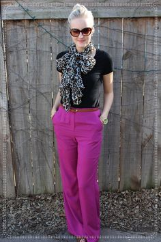 high waisted pink dress pants leopard bow scarf cat eye sunnies heels top knot 1 Birthday