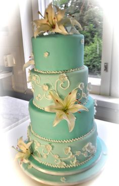 Turquoise wedding cake