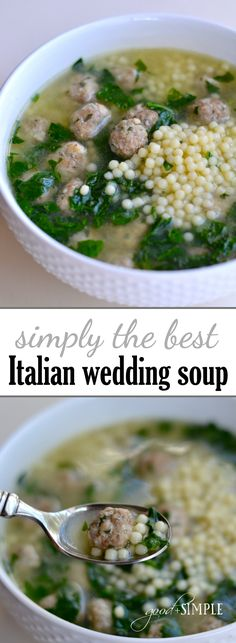 combined elements from several different Italian Wedding Soup recipes to create our all-time favorite version!I combined elements from several different Italian Wedding Soup recipes to create our all-time favorite version! Easy Soup Recipes, Cooking Recipes, Healthy Recipes, Italian Recipes Crockpot, Recipes Dinner, Vegetarian Cooking, Cooking Kale, Vegetarian Barbecue, Hamburger Recipes