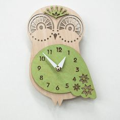 This Wood Owl Wall Clock is made of a light weight laser cut birch veneer core plywood that has been conditioned, sanded, and hand-dyed. Every nursery needs a clock, and this one is sure to charm! Available in a variety of colors to match any nursery Owl Mosaic, Mosaic Art, Owl Clock, Wood Owls, Tv Wall Decor, Monogram Wall, Damask Wallpaper, Wood Clocks, Nursery Decor