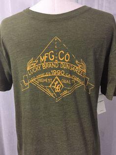 Lucky Brand Dungarees Luxurious Green Men's T-Shirt Size Medium New! $29 #LuckyBrand #BasicTee