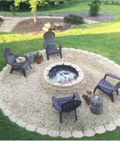 Fire Pit Landscaping, Farmhouse Landscaping, Fire Pit Backyard, Backyard Patio, Backyard Projects, Outdoor Projects, Outside Fire Pits, Patio Layout, Fire Pit Area