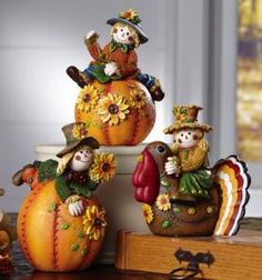 #95566 Set of 3 Collectible Fall Scarecrow Sitters by sensationaltreasures