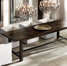 Spanish Monastery Rectangular Dining Table:Crafted with strong lines and a rustic design, this piece evokes the refectory tables… Dining Decor, Dining Room Sets, Dining Room Design, Dining Room Furniture, Dining Room Table, Rustic Furniture, Furniture Ideas, Restoration Hardware Dining Table, Beautiful Dining Rooms