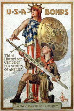 Campaña publicitaria de los boy scouts para la combra de Bonos libertad
