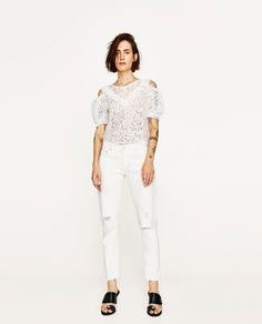 ZARA - WOMAN - LACE TOP WITH CUT OUT SHOULDERS