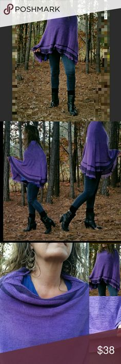Purple Soft Knit Poncho Beautiful comfy & deliciously cozy soft! Purple 100% Viscose knit Poncho. This over the head classic style poncho never loses its style and is always trending no matter what place or time! Features include cable knit neck and hemline. Who says 'TRENDY' can't be 'COMFY'?! Need a different color?...see below for more colors available in my closet.       **GREAT HOLIDAY GIFT ** Colors available: *purple* Red Gray Teal Blue  Black Beige   ***Bundle 2 or more Ponchos and…