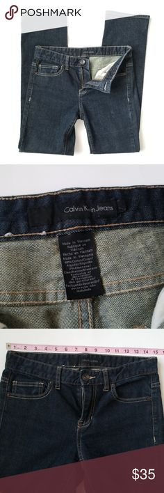 Calvin Klein dark size 2 wash jean -E1 Calvin Klein dark wash Jean's, size 2. Stretch material! 30 inch inseam. Used item, pictures show any sign of wear or use.   Bundle up! Offers always welcome!  Shop my husband's closet!: @kirchingeraaron Calvin Klein Jeans