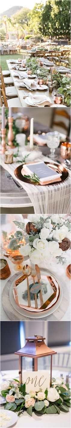 greenery and copper wedding table ❤️ #greenerywedding #goldwedding #copperwedding #vintagewedding #weddingcolors #weddingideas http://www.deerpearlflowers.com/copper-and-greenery-wedding-color-ideas/