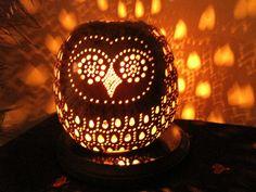 Owl Gourd lamp. TheGoldenGourd, Etsy.com