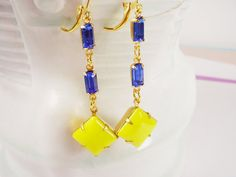 Vintage Bright Yellow Square Stone with Octagon by TheGoldenRobin