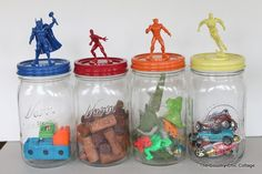 Make great super hero jar toy storage in minutes with this super simple tutorial.
