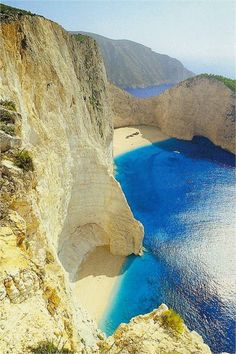 """Navagio beach"" in Zakinthos. The name of the beach comes from the wreck of a ship called Panagiotis and believed to have been a smuggler's ship."