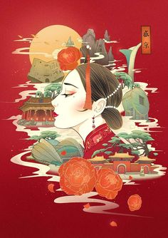 Graphic Design Posters, Graphic Design Illustration, Chinese Artwork, Illustration Story, Art Asiatique, Mural Art, Illustrations And Posters, Asian Art, Japanese Art