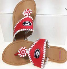 d7880f175e0 NCAA Georgia Bulldogs Ladies Red Whip-Stitch Sandals
