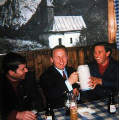 April 7th 1968… Jimmy Clark spent his last hours with Kurt Ahrens Jr. after their presentation on German sports television.… From left to right: Eckhard SCHIMPF, Kurt AHRENS and Jim CLARK