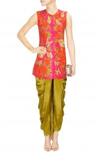 Pink butterfly and rose embroidered jacket kurta with lime dhoti pants