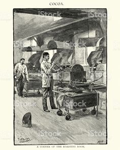 """A Corner of the Roasting Room."" ""Cocoa."" Istock by Getty Images. ""Fry's Victorian Chocolate Factory Stock."""