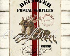 Reindeer Postal Service Large Instant Digital Download Printable Christmas Holiday Grain Sack Graphic Art Transfer Image 0335