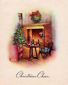 Other Collectible Vintage Greeting Cards Christmas Scenes, Christmas Mood, Christmas Images, Christmas Greetings, Merry Christmas, Vintage Greeting Cards, Vintage Christmas Cards, Xmas Cards, Christmas Fireplace