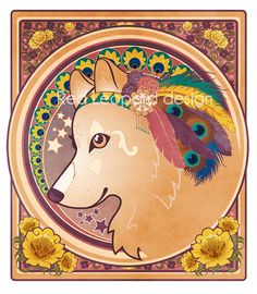 """Red Leopard's new print """"Wolf Goddess Noveau"""" on on Etsy."""