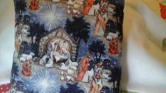 Hand-made Nativity scene throw pillow by MawmaRosesCrafts on Etsy
