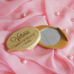 "Bridesmaid & Wedding Favors - Maplewood Pocket Mirror with Font Selection and Gift Pouch Included (Each - 2"" x 3"") by DesignstheLimit #TrendingEtsy"