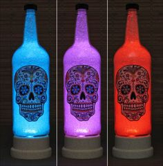 Day of the Dead Color Changing 1 Liter Bottle by BodaciousBottles, $54.95